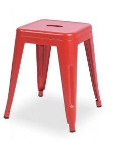 Taboret Paris inspirowane Tolix Czerwony Mat